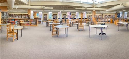 Panoramic View of North High School Library